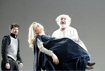 'KING LEAR' (Shakespeare)~l-r: Nick Fletcher (Edgar), Rachel Pickup (Cordelia), Timothy West (King Lear)~The Old Vic   London SE1                         25/03/2003