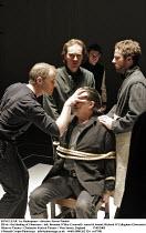 KING LEAR   by Shakespeare - director: Steven Pimlott,III/vii - the blinding of Gloucester - left: Brendan O^Hea (Cornwall)  seated & bound: Richard O^Callaghan (Gloucester),Minerva Theatre / Chichest...