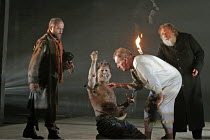 KING LEAR by Shakespeare - director: Bill Alexander~storm scene l-r: Louis Hilyer (Kent), Pal Aron (Edgar/Poor Tom), Corin Redgrave (King Lear), David Hargreaves (Gloucester)~Royal Shakespeare Company...