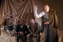 'KING LEAR' (Shakespeare - director: Bill Alexander),III/vi - Goneril's 'trial' - l-r: Pal Aron (Edgar/Poor Tom), Leo Wringer (Fool). Louis Hilyer (Kent), Corin Redgrave (King Lear),Royal Shakespeare...