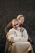 KING LEAR by Shakespeare  set design: Tom Piper  costumes: Kandis Cook  lighting: Tim Mitchell  fights: Malcolm Ranson  director: Bill Alexander <br>~Lear descends into madness: Corin Redgrave (King L...