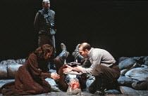 KING LEAR   by Shakespeare   director: Adrian Noble,blinding of Gloucester - l-r: Jenny Agutter (Regan), David Waller (Gloucester), Pete Postlethwaite (Duke of Cornwall),Royal Shakespeare Company / Ba...