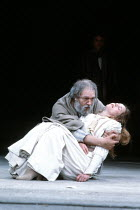 KING LEAR by Shakespeare  design: Bob Crowley  lighting: Brian Harris  fights: Malcolm Ranson  director: Adrian Noble <br>~V/iii: Michael Gambon (King Lear), Alice Krige (Cordelia) ~Royal Shakespeare...
