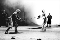 'KING LEAR' (Shakespeare)~Edmund and Edgar fight - l-r: Clive Russell (Edmund), Peter Eyre (Edgar)~Old Vic Theatre, London          28/03/1989
