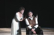 KING LEAR by Shakespeare  design: Hildegard Bechtler  lighting: Jean Kalman  director: Deborah Warner <br>~Clare Higgins (Regan), Peter Jeffrey (Earl of Gloucester)~Lyttelton Theatre, National Theatre...