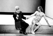 'KING LEAR' (Shakespeare)~l-r: Norman Rodway (Earl of Gloucester), Linus Roache (Edgar)~RSC/Barbican Theatre, London             01/05/1991