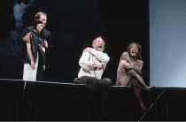 'KING LEAR' (Shakespeare),l-r: Linda Kerr Scott (Fool), David Troughton (Kent), John Wood (Lear), Linus Roache (Edgar),RSC/RST, Stratford-upon-Avon  1990,