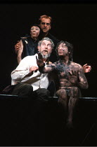 'KING LEAR' (Shakespeare),rear: Linda Kerr Scott (Fool), David Troughton (Kent),front: John Wood (Lear), Linus Roache (Edgar),RSC/RST, Stratford-upon-Avon  1990,