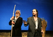 'KING LEAR' (Shakespeare)~Edgar leads blinded Gloucester, l-r: Norman Rodway (Gloucester), Linus Roache (Edgar)~RSC/RST, Stratford-upon-Avon  1990  Barbican Theatre, London EC2  1991