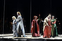 'LEAR' (Reimann) based on 'KING LEAR' (Shakespeare)~l-r: Rosa Mannion (Cordelia), Christopher Robson (Edgar/Poor Tom), Vivian Tierney (Regan), Monte Jaffe (Lear), Phyllis Cannan (Goneril) ~English Nat...