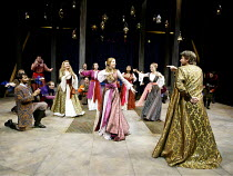 'ROMEO AND JULIET' (Shakespeare)~the ball - rear left: Victoria Carling (Lady Capulet)   centre: Emily Blunt (Juliet)   right: Paul Shelley (Capulet)~Chichester Festival Theatre, W.Sussex    27/08/200...
