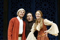 'ROMEO AND JULIET' (Shakespeare)~l-r: Lex Shrapnel (Romeo), Richard O'Callaghan (Friar Lawrence), Emily Blunt (Juliet)~Chichester Festival Theatre, W.Sussex    27/08/2002