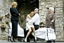 'ROMEO AND JULIET' (Shakespeare)~l-r: Liza Sadovy (Lady Capulet), Laura Main (Juliet), Christopher Godwin (Capulet), Carol Macready (Nurse)~Open Air Theatre/Regent's Park, London NW1      05/06/2002