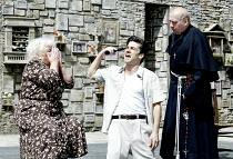 'ROMEO AND JULIET' (Shakespeare)~l-r: Carol Macready (Nurse), Alan Westaway (Romeo), Timothy Kightley (Friar Laurence)~Open Air Theatre/Regent's Park, London NW1      05/06/2002