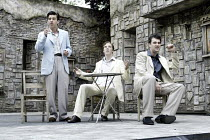 'ROMEO AND JULIET' (Shakespeare - director: Dominic Hill)~l-r: Alan Westaway (Romeo), Benedict Cumberbatch (Benvolio), John Hodgkinson (Mercutio)~Open Air Theatre / Regent's Park, London NW1...
