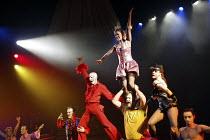 ROMEO AND JULIET by Shakespeare  set design: Borkur Jonsson  costumes: Thorunn E. Sveinsdottir  lighting: Tim Mitchell  director: Gisli Orn Gardarsson ~ball scene - centre, l-r: Ingvar E Sigurdsson (C...