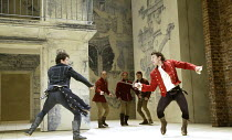 ROMEO AND JULIET  by Shakespeare  set design: Simon Daw  costumes: Deirdre Clancy  lighting: Hartley T A Kemp  fights: Terry King  director: Peter Gill ~fighting, l-r: Matthew Rhys (Romeo), Tam Mutu (...