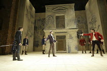 ROMEO AND JULIET  by Shakespeare  set design: Simon Daw  costumes: Deirdre Clancy  lighting: Hartley T A Kemp  fights: Terry King  director: Peter Gill ~l-r: Matthew Rhys (Romeo), Caolan Byrne (Abram)...