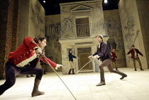 ROMEO AND JULIET  by Shakespeare  set design: Simon Daw  costumes: Deirdre Clancy  lighting: Hartley T A Kemp  fights: Terry King  director: Peter Gill ~fighting, foreground, l-r: Tam Mutu (Tybalt), G...