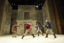 ROMEO AND JULIET  by Shakespeare  set design: Simon Daw  costumes: Deirdre Clancy  lighting: Hartley T A Kemp  fights: Terry King  director: Peter Gill ~l-r: Edward Clarke (Gregory), Anatol Yusef (Sam...
