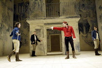 ROMEO AND JULIET  by Shakespeare  set design: Simon Daw  costumes: Deirdre Clancy  lighting: Hartley T A Kemp  fights: Terry King  director: Peter Gill ~l-r: Trystan Gravelle (Benvolio), Caolan Byrne...