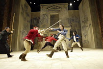 ROMEO AND JULIET  by Shakespeare  set design: Simon Daw  costumes: Deirdre Clancy  lighting: Hartley T A Kemp  fights: Terry King  director: Peter Gill ~front, l-r: John Normington (Friar Laurence), A...