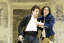 ROMEO AND JULIET  by Shakespeare  set design: Simon Daw  costumes: Deirdre Clancy  lighting: Hartley T A Kemp  fights: Terry King  director: Peter Gill ~l-r: Matthew Rhys (Romeo), Trystan Gravelle (Be...