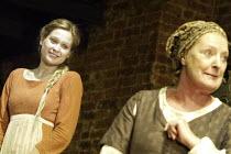 ROMEO AND JULIET  by Shakespeare  set design: Simon Daw  costumes: Deirdre Clancy  lighting: Hartley T A Kemp  fights: Terry King  director: Peter Gill ~l-r: Sian Brooke (Juliet), June Watson (Nurse)~...