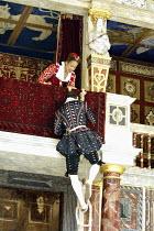 'ROMEO AND JULIET' (Shakespeare - director ('Master of Play') Tim Carroll)~balcony scene: Kananu Kirimi (Juliet), Tom Burke (Romeo)~Shakespeare's Globe, London SE1         19/05/2004