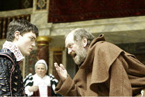 'ROMEO AND JULIET' (Shakespeare - director ('Master of Play') Tim Carroll)~III/iii - l-r: Tom Burke (Romeo), Bette Bourne (Nurse), John McEnery (Friar Lawrence)~Shakespeare's Globe, London SE1...