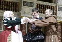 'ROMEO AND JULIET' (Shakespeare - director ('Master of Play') Tim Carroll),III/iii - l-r: Bette Bourne (Nurse), Tom Burke (Romeo), John McEnery (Friar Lawrence),Shakespeare's Globe, London SE1...