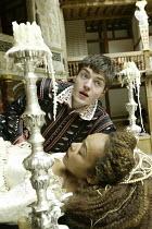 'ROMEO AND JULIET' (Shakespeare - director ('Master of Play') Tim Carroll)~in the tomb: Kananu Kirimi (Juliet), Tom Burke (Romeo)~Shakespeare's Globe, London SE1         19/05/2004