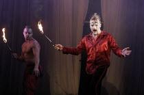 ROMEO AND JULIET by Shakespeare  set design: Borkur Jonsson  costumes: Thorunn E. Sveinsdottir  lighting: Tim Mitchell  director: Gisli Orn Gardarsson ~(right) Gotti Sigurdarson (Tybalt) with Krisjan...