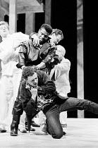 ROMEO AND JULIET  by Shakespeare   design: Chris Dyer   lighting: Chris Ellis   director: Michael Bogdanov ~left: Sean Bean (Romeo)   top: Hugh Quarshie (Tybalt)   below: Michael Kitchen (Mercutio)~Ro...