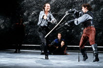ROMEO AND JULIET by Shakespeare design: Alison Chitty lighting: Jean Kalman director: David Leveaux ~l-r: Tim McInnerny (Mercutio), Sean Murray (Tybalt), watched by (on stage) Michael Maloney (Romeo)~...