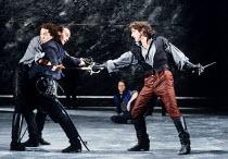 ROMEO AND JULIET by Shakespeare design: Alison Chitty lighting: Jean Kalman director: David Leveaux ~left: Romeo supports slain Mercutio - Michael Maloney (Romeo), Tim McInnerny (Mercutio)   right: Se...