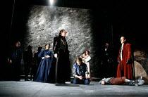 ROMEO AND JULIET by Shakespeare design: Alison Chitty lighting: Jean Kalman director: David Leveaux ~III/i - centre: Julian Glover (Escalus, Prince of Verona)  kneeling: Michael Maloney (Romeo)   lyin...