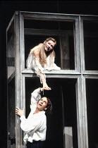 ROMEO AND JULIET by Shakespeare design: Alison Chitty lighting: Jean Kalman director: David Leveaux ~balcony scene: Michael Maloney (Romeo), Claire Holman (Juliet)~Royal Shakespeare Company / Barbican...