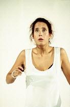 'ROMEO AND JULIET' (Shakespeare - director: Karen Beier)~IV/iii - Juliet takes the sleeping potion: Caroline Ebner (Juliet)~Dusseldorfer Schauspielhaus / Barbican Theatre, London  1994