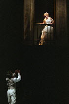 ROMEO AND JULIET by Shakespeare design: Kendra Ullyart lighting: Hugh Vanstone  fights: Terry King  movement: Sue Lefton  director: Adrian Noble ~balcony scene: Zubin Varla (Romeo), Lucy Whybrow (Juli...