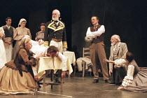 ROMEO AND JULIET by Shakespeare design: Kendra Ullyart lighting: Hugh Vanstone  fights: Terry King  movement: Sue Lefton  director: Adrian Noble ~III/i - kneeling left: Darlene Johnson (Lady Capulet)...