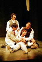 ROMEO AND JULIET by Shakespeare design: Kendra Ullyart lighting: Hugh Vanstone  fights: Terry King  movement: Sue Lefton  director: Adrian Noble ~death of Mercutio, clockwise from left: Zubin Varla (R...