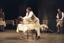 ROMEO AND JULIET by Shakespeare design: Kendra Ullyart lighting: Hugh Vanstone  fights: Terry King  movement: Sue Lefton  director: Adrian Noble ~centre - Romeo kills Tybalt: Dermot Kerrigan (Tybalt),...