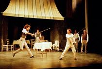 ROMEO AND JULIET by Shakespeare design: Kendra Ullyart lighting: Hugh Vanstone  fights: Terry King  movement: Sue Lefton  director: Adrian Noble ~left: Mark Lockyer (Mercutio)   right: Dermot Kerrigan...