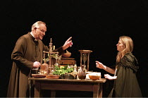 ROMEO AND JULIET by Shakespeare design: Kendra Ullyart lighting: Hugh Vanstone  fights: Terry King  movement: Sue Lefton  director: Adrian Noble ~Julian Glover (Friar Lawrence), Lucy Whybrow (Juliet)~...