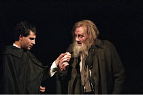 ROMEO AND JULIET by Shakespeare design: Kendra Ullyart lighting: Hugh Vanstone  fights: Terry King  movement: Sue Lefton  director: Adrian Noble ~l-r: Zubin Varla (Romeo), Jeffery Dench (Apothecary)~R...