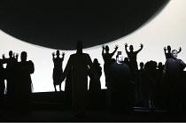 'AIDA' (Verdi - conductor: Antonio Pappano   director/design/lighting: Robert Wilson)~centre right: Johan Botha (Radames)   far right: Mark S. Doss (Amonasro)~The Royal Opera / Covent Garden, London W...