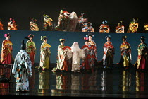 MADAM BUTTERFLY   by Puccini   conductor: David Parry   director: Anthony Minghella,entrance of Cio-Cio-San (centre) reflected in above-stage mirror: Mary Plazas (Cio-Cio-San / Madam Butterfly),Englis...