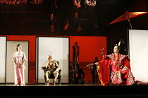 MADAM BUTTERFLY   by Puccini   conductor: David Parry   director: Anthony Minghella,l-r: Mary Plazas (Cio-Cio-San / Madam Butterfly), Christopher Purves (Sharpless), Mark Stone (Prince Yamadori),Engli...