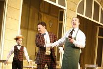 THE ELIXIR OF LOVE (L^ELISIR D^AMORE)   by Donizetti   conductor: Tecwyn Evans   director: Daniel Slater<br>,l-r: Aaron Eastwood (Dulcamara^s boy), Peter Savidge (Dulcamara), Andrew Kennedy (Nemorino)...